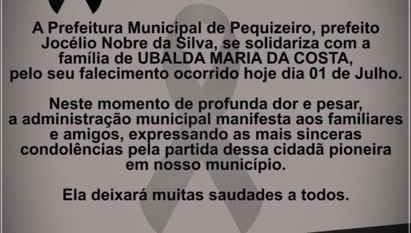 NOTA DE PESAR / UBALDA MARIA DA COSTA